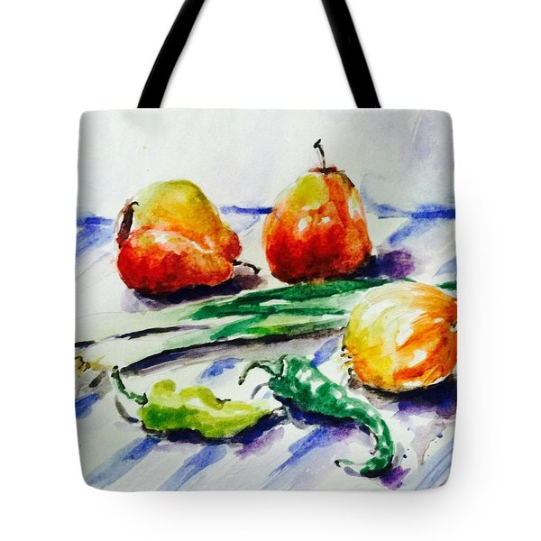 Two Pear And Vegetable Tote Bag
