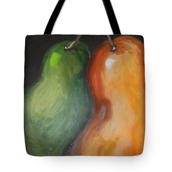 Tote Bag featuring the painting Two Pears by Jolanta Anna Karolska