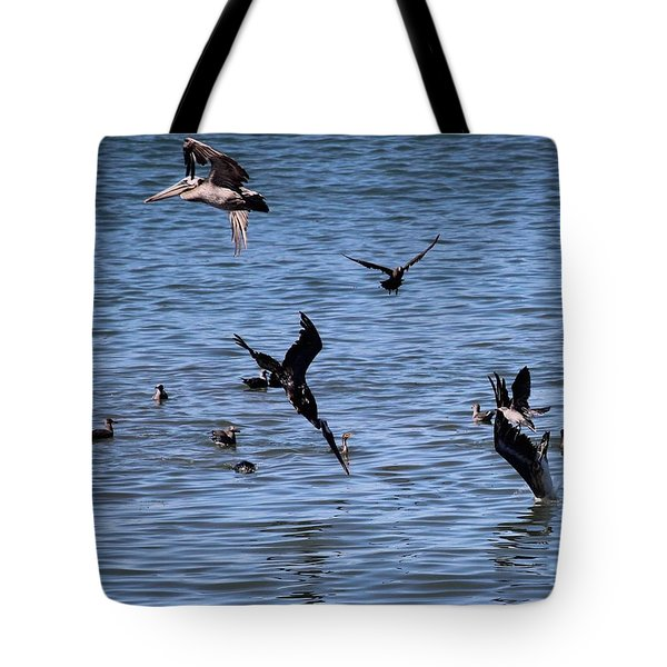 Two Pelicans Diving  Tote Bag