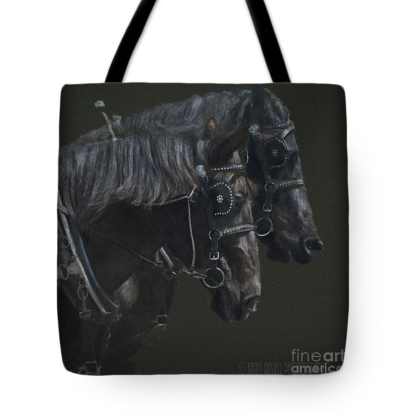 Two Percherons Tote Bag by Kathy Russell