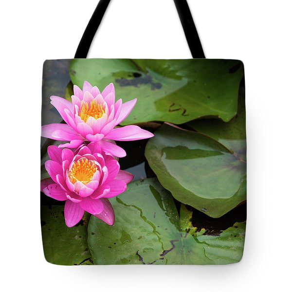 Tote Bag featuring the photograph Two Pink Lilies by Dennis Dame