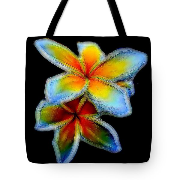 Two Plumerias Tote Bag by Pamela Walton