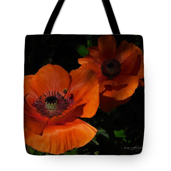 Two Poppies  And A Bee Tote Bag