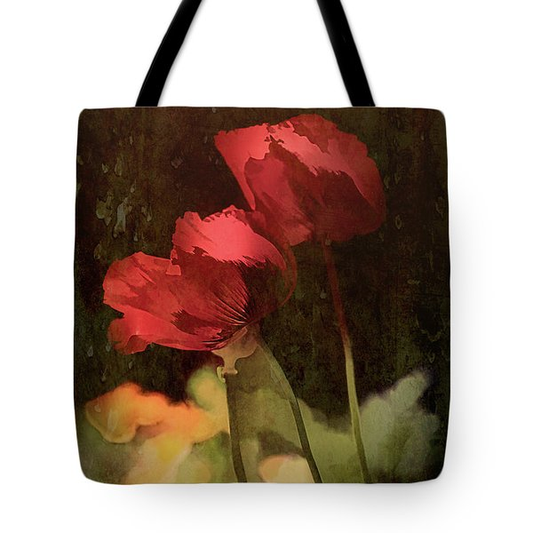 Tote Bag featuring the painting Two Poppies by Elaine Teague
