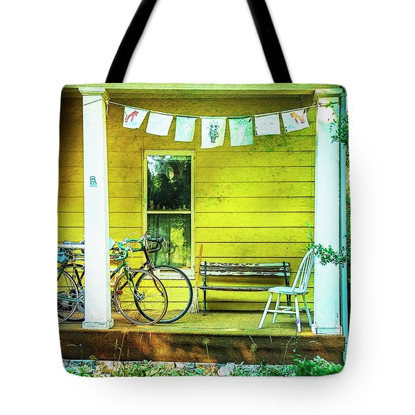 Tote Bag featuring the photograph Two Porch Bicycles by Craig J Satterlee