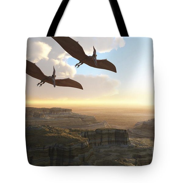 Two Pterodactyl Flying Dinosaurs Soar Tote Bag by Corey Ford
