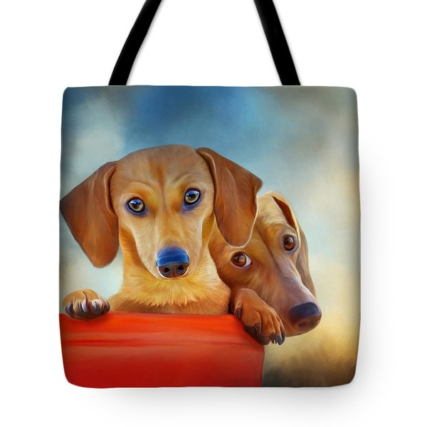 Two Pups In A Bucket 4926 - No Texture Tote Bag