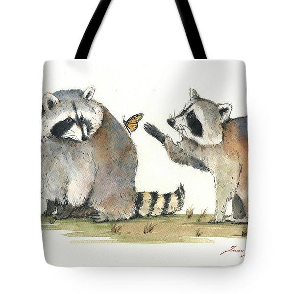 Two Raccoons Tote Bag by Juan Bosco