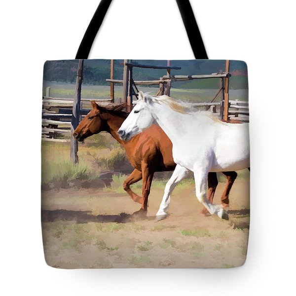Tote Bag featuring the digital art Two Ranch Horses Galloping Into The Corrals by Nadja Rider