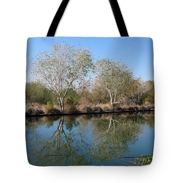 Tote Bag featuring the photograph Two Reflected by Laurel Powell