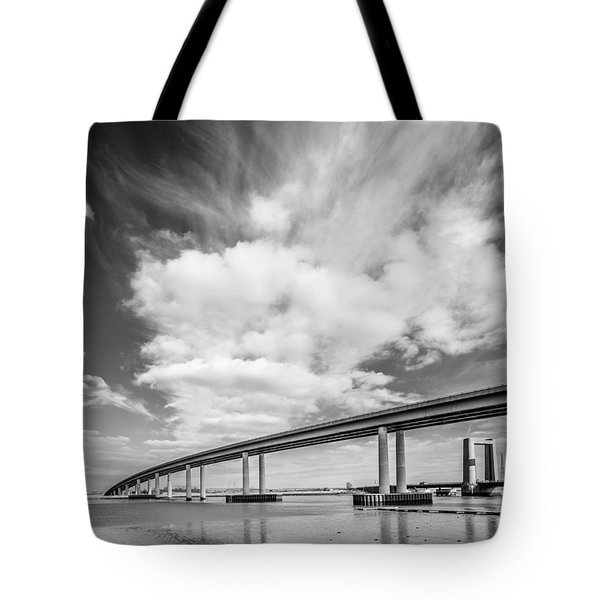Tote Bag featuring the photograph Two River Bridges by Gary Gillette
