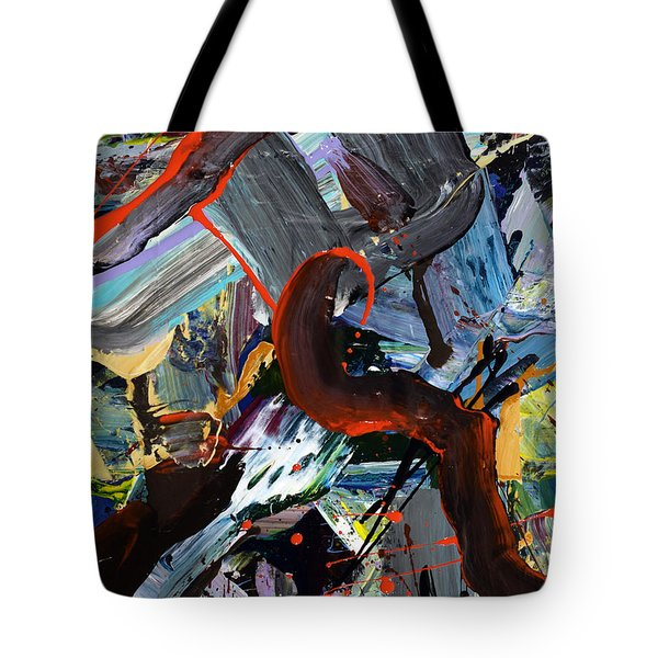Two Roads Diverge In Yellow Woods Abstract  Tote Bag by Erika Pochybova