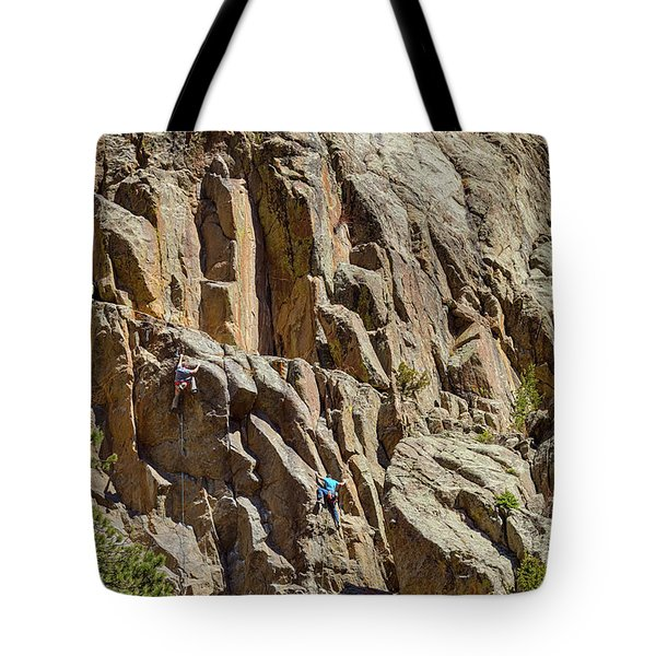 Tote Bag featuring the photograph Two Rock Climbers Making Their Way by James BO Insogna