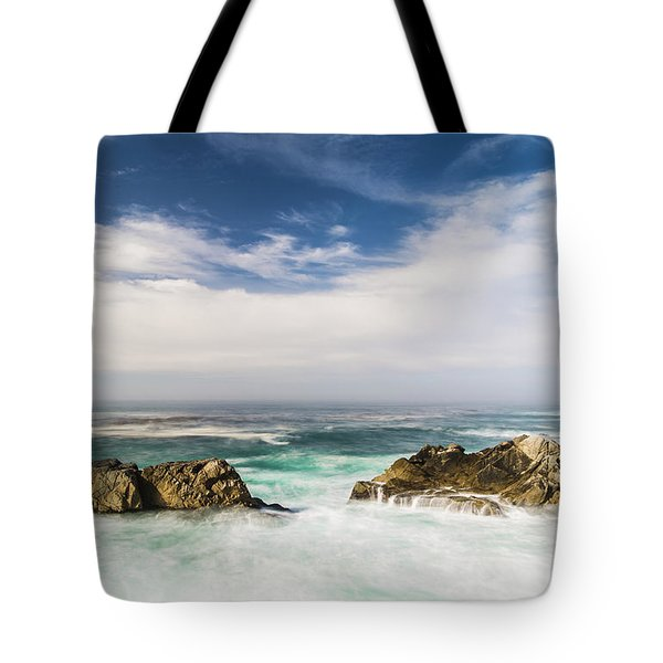 Tote Bag featuring the photograph Two Rocks In The Pacific Ocean by Jingjits Photography