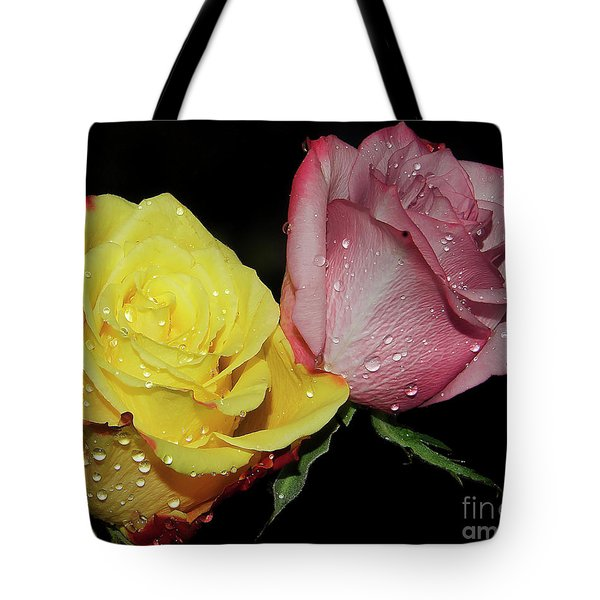 Tote Bag featuring the photograph Two Roses by Elvira Ladocki