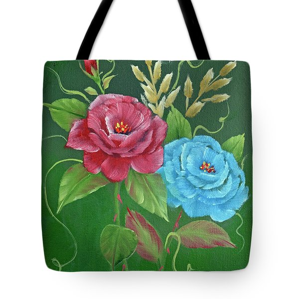 Two Roses Red And Blue Tote Bag by Jimmie Bartlett