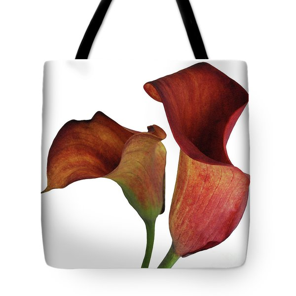 Two Rust Calla Lilies Square Tote Bag