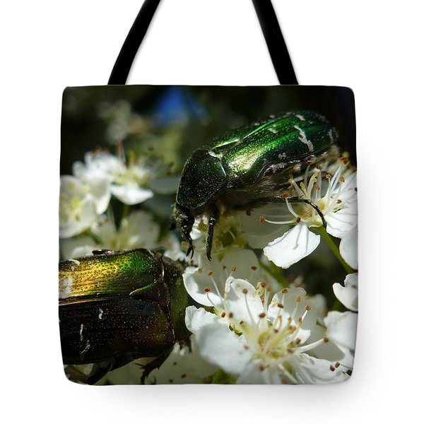 Tote Bag featuring the photograph Two Scarabs Metallic Green by Jean Bernard Roussilhe