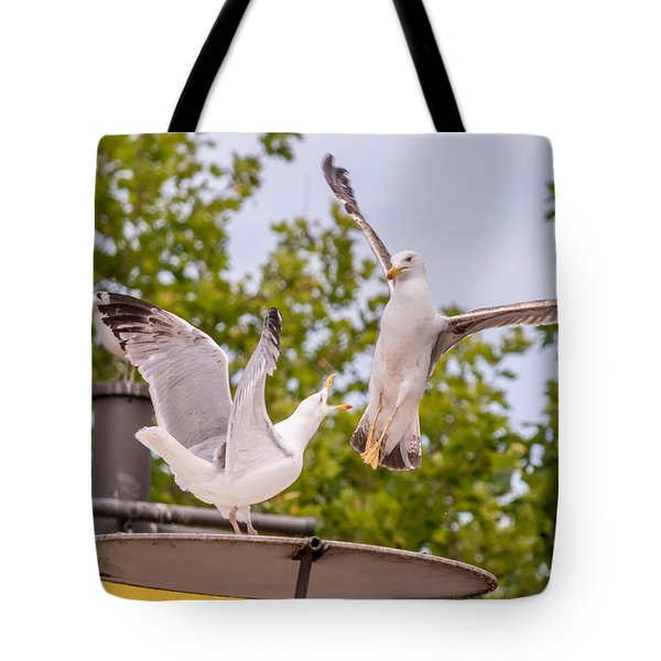 Two Seabird Fighting Tote Bag