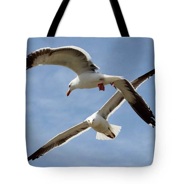 Two Seagulls Almost Collide  Tote Bag