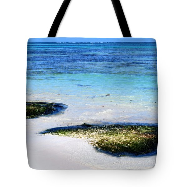Two Seaweed Mounds On Punta Cana Resort Beach Tote Bag by Heather Kirk