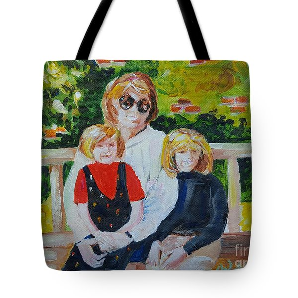 375e0020e2 Tote Bag featuring the painting Two Sisters With Sweet Mom by Jill Morris