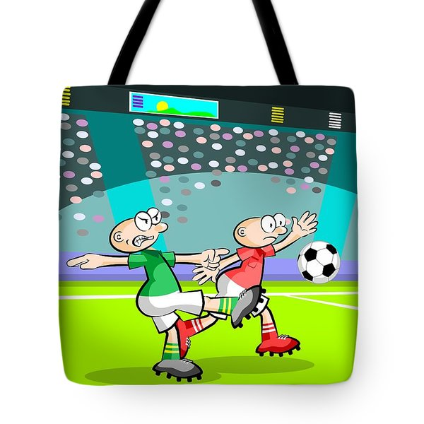 Two Soccer Players At The Stadium Tote Bag
