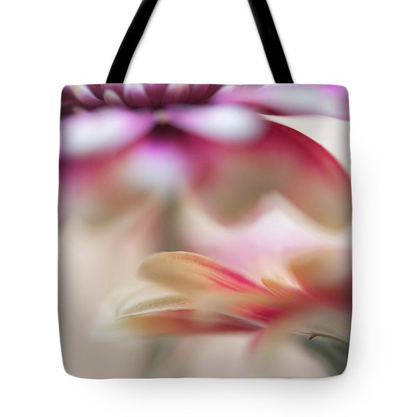 Tote Bag featuring the photograph Two Souls 1. Macro Gerbera by Jenny Rainbow