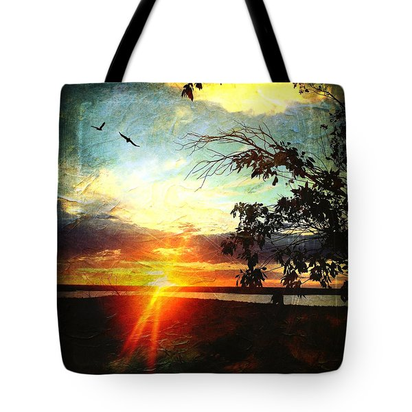 Two Souls Flying Off Into The Sunset  Tote Bag