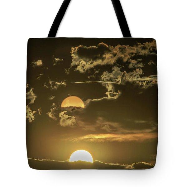 Two Suns Setting Tote Bag