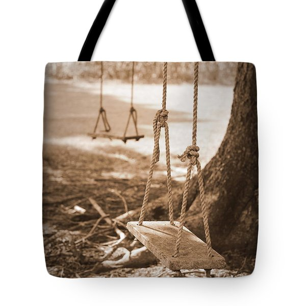 Two Swings - Sepia Tote Bag