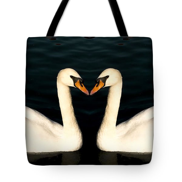 Two Symmetrical White Love Swans Tote Bag by John Williams