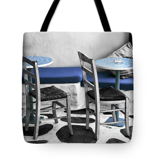 Two Tables In Mykonos Fusion Tote Bag
