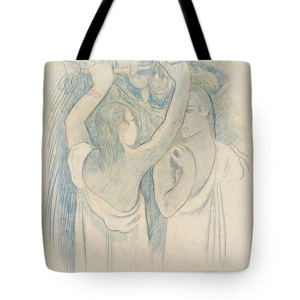 Two Tahitians Gathering Fruit - Verso Tote Bag