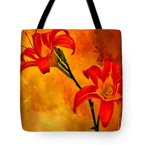 Tote Bag featuring the digital art Two Tigerlilies by Marsha Heiken