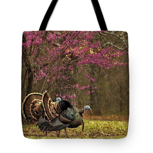 Two Tom Turkey And Redbud Tree Tote Bag