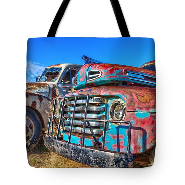 Two Trucks Tote Bag
