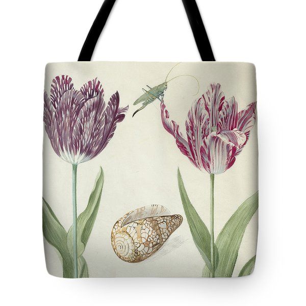 Two Tulips A Shell And A Grasshopper Tote Bag