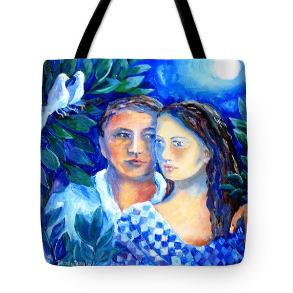 Tote Bag featuring the painting Two Turtle Doves  by Trudi Doyle