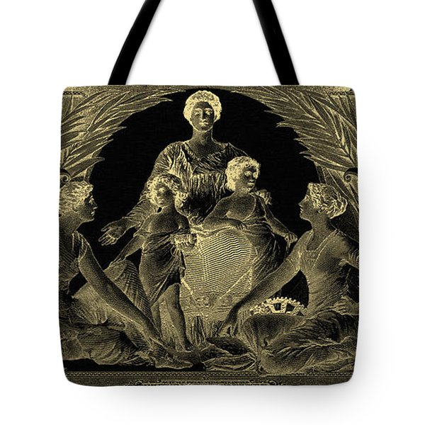 Tote Bag featuring the photograph Two U.s. Dollar Bill - 1896 Educational Series In Gold On Black  by Serge Averbukh