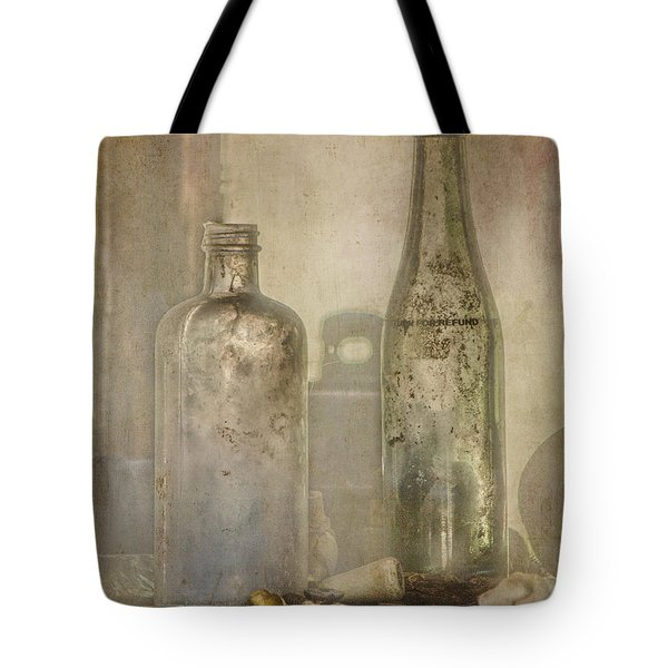 Tote Bag featuring the photograph Two Vintage Bottles by Teresa Wilson