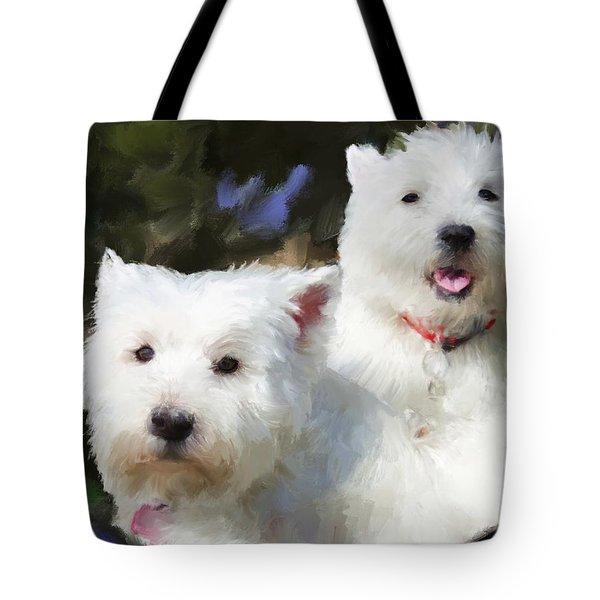 Two Westies Tote Bag by Debra Baldwin