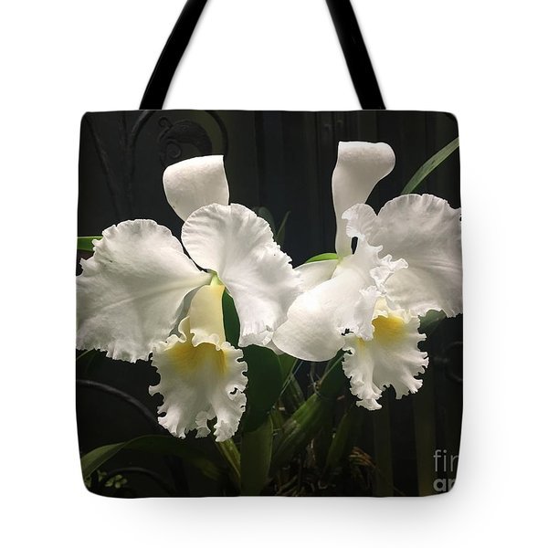 Two White Orchids Tote Bag
