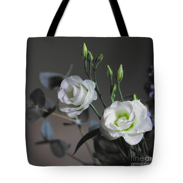 Tote Bag featuring the photograph Two White Roses by Jeremy Hayden