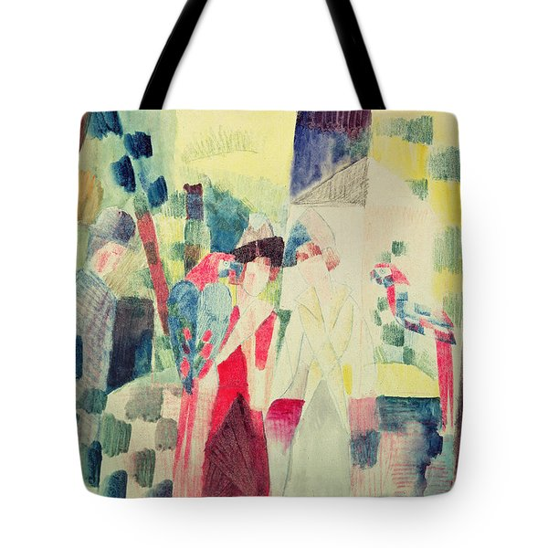Two Women And A Man With Parrots Tote Bag by August Macke