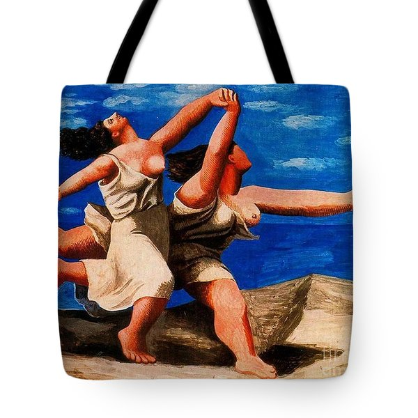 Two Women Running On The Beach Tote Bag