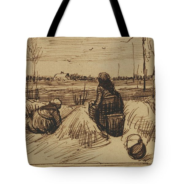 Two Women Working In The Fields, 1885 Tote Bag