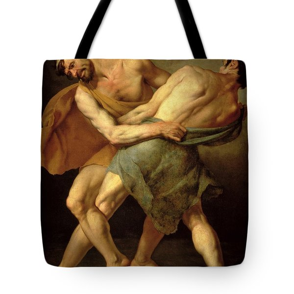 Two Wrestlers Tote Bag