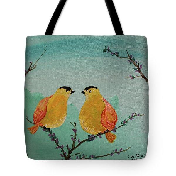 Two Yellow Chickadees Tote Bag
