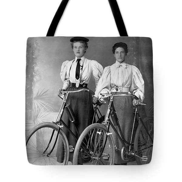 Two Young Ladies With Their Bicycles Circa 1895 Tote Bag